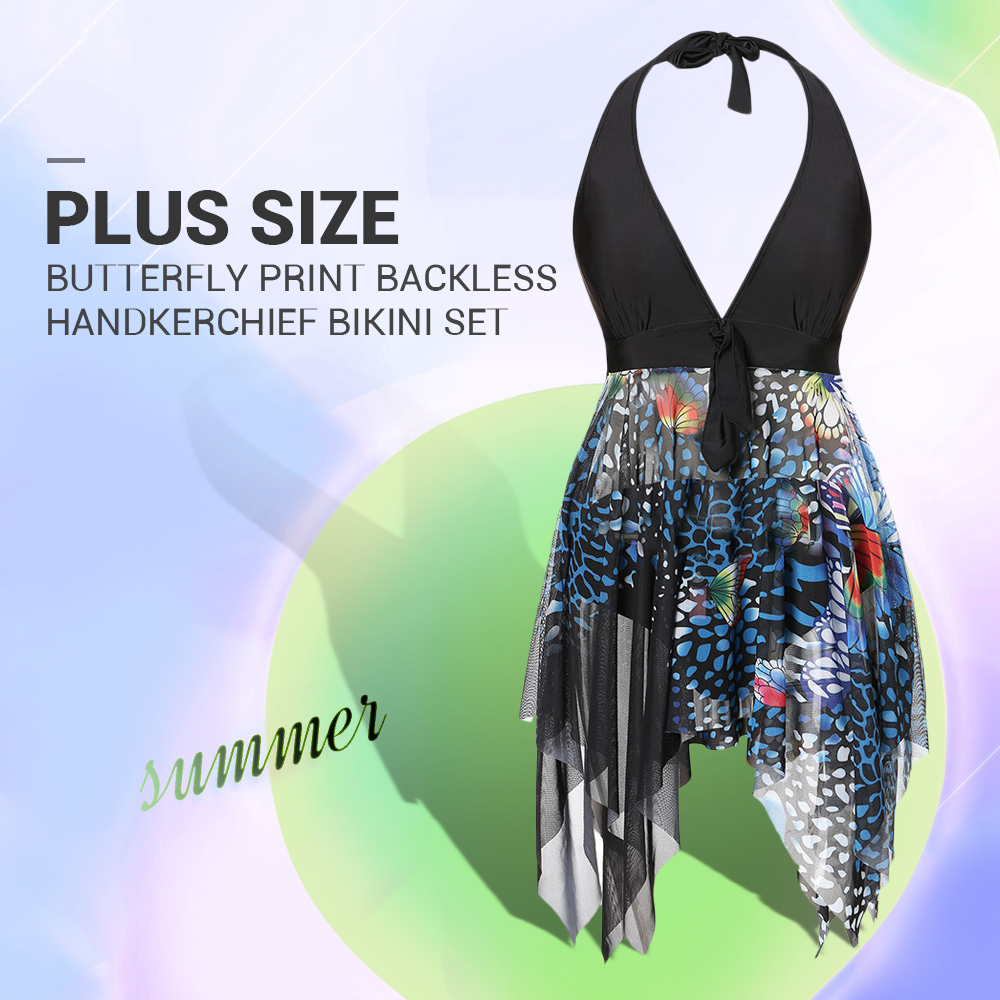 Plus Size Butterfly Print Backless Handkerchief Tankini Set
