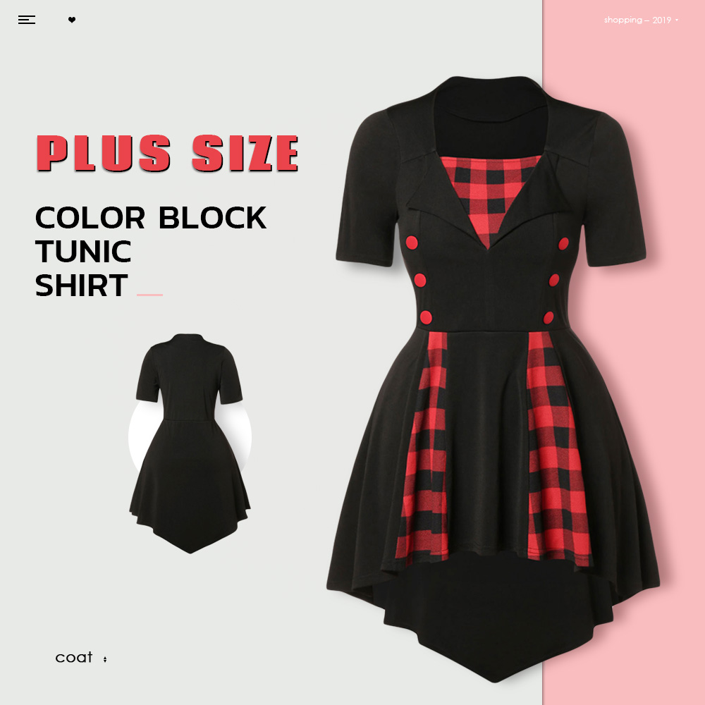 Plus Size Color Block Tunic Shirt